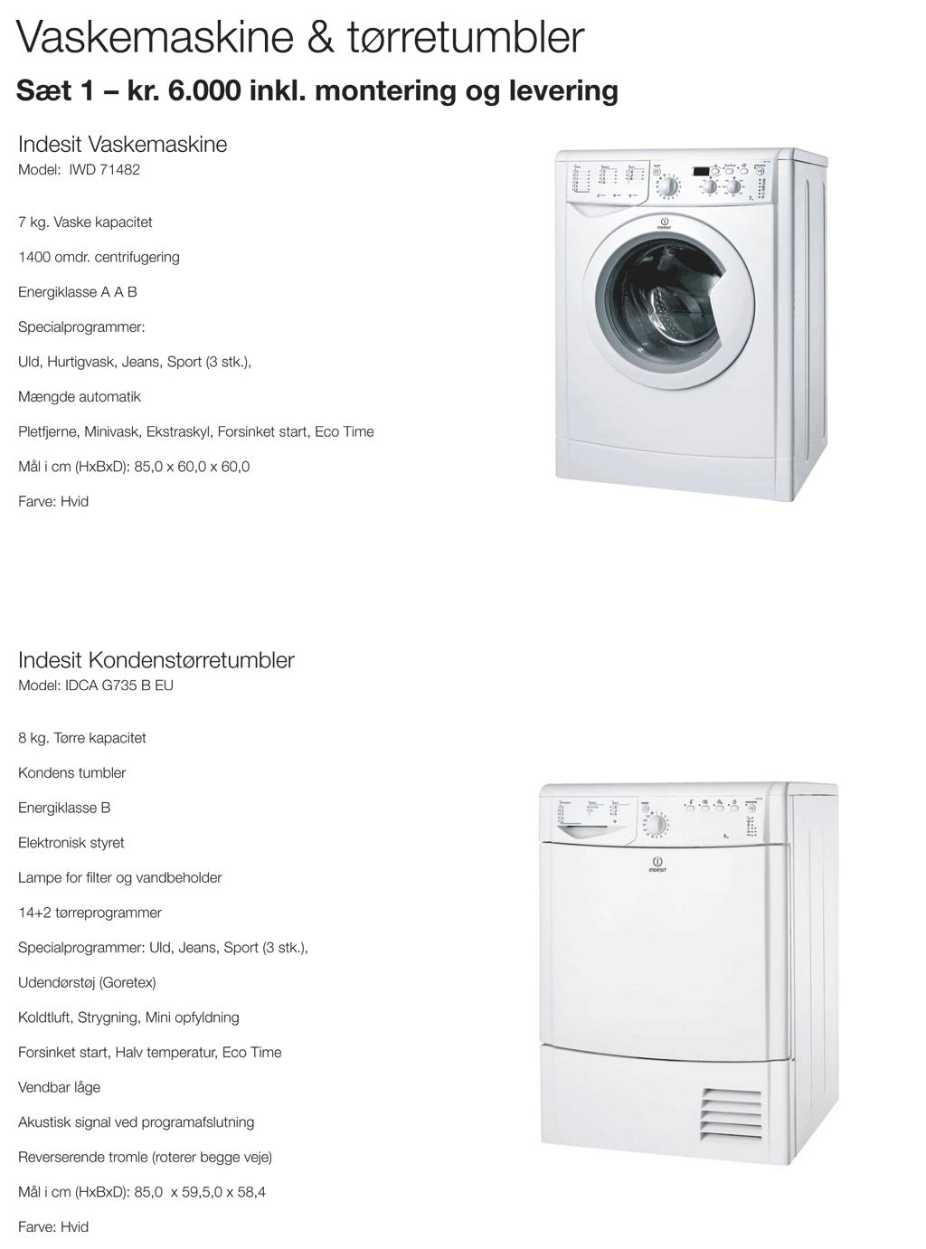 vaskemaskine tørretumbler tilbud