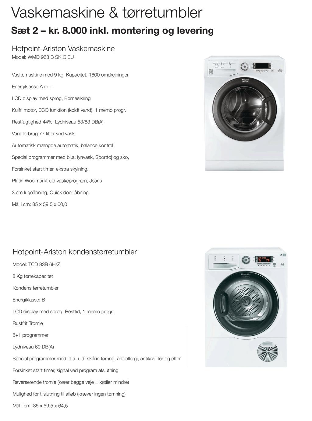 leje vaskemaskine og tørretumbler